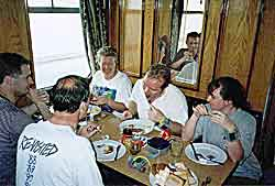 Chris, Ian, Julie, John and Joe. Eating breakfast on our last day of diving.