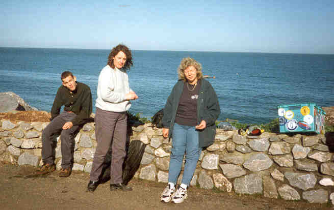Joe, Carol & Julie (The Wife) sitting on the wall above the beach