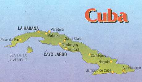 A map of the Islands of Cuba