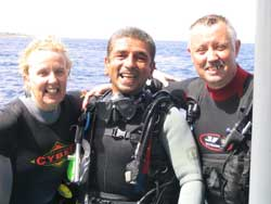 Our lead dive guide Amr with Mary & Tony Hartigan after a dive