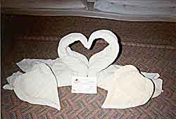 A sample of the sculpture's made from towels by the maid