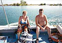 Julie and me enjoying a bit of sun on the way to the dive site
